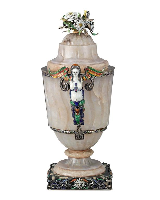Rococo 19th Century Viennese Agate and Enamel Covered Urn For Sale