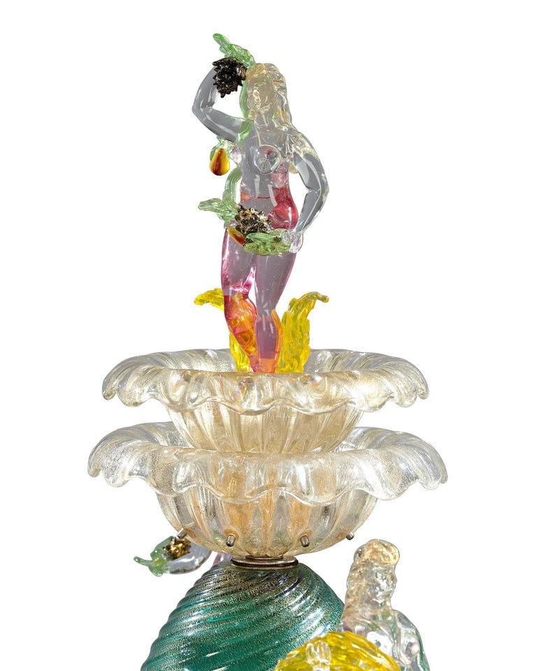 An unquestionable masterpiece of Venetian glass artistry, this incredible glass fountain is the rarest and most fascinating form of Murano glass ever created. Masterpieces requiring tremendous skill, these fountains were typically only made for