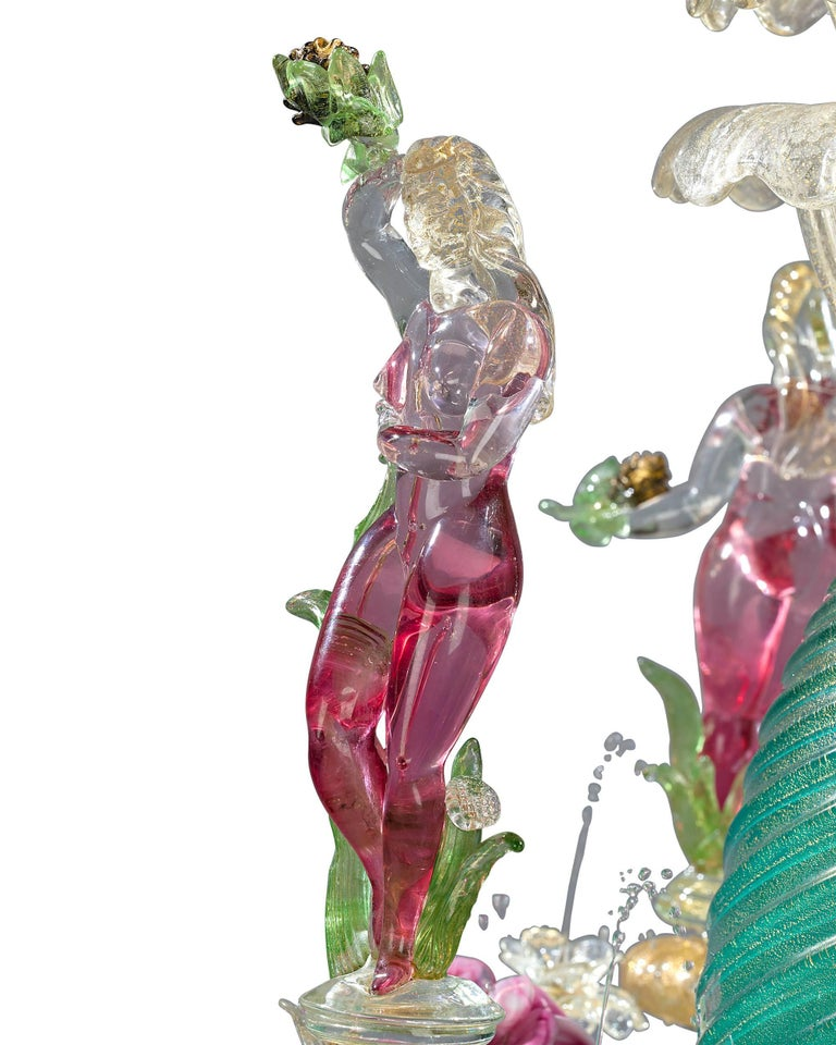 Other Murano Venetian Glass Water Fountain For Sale