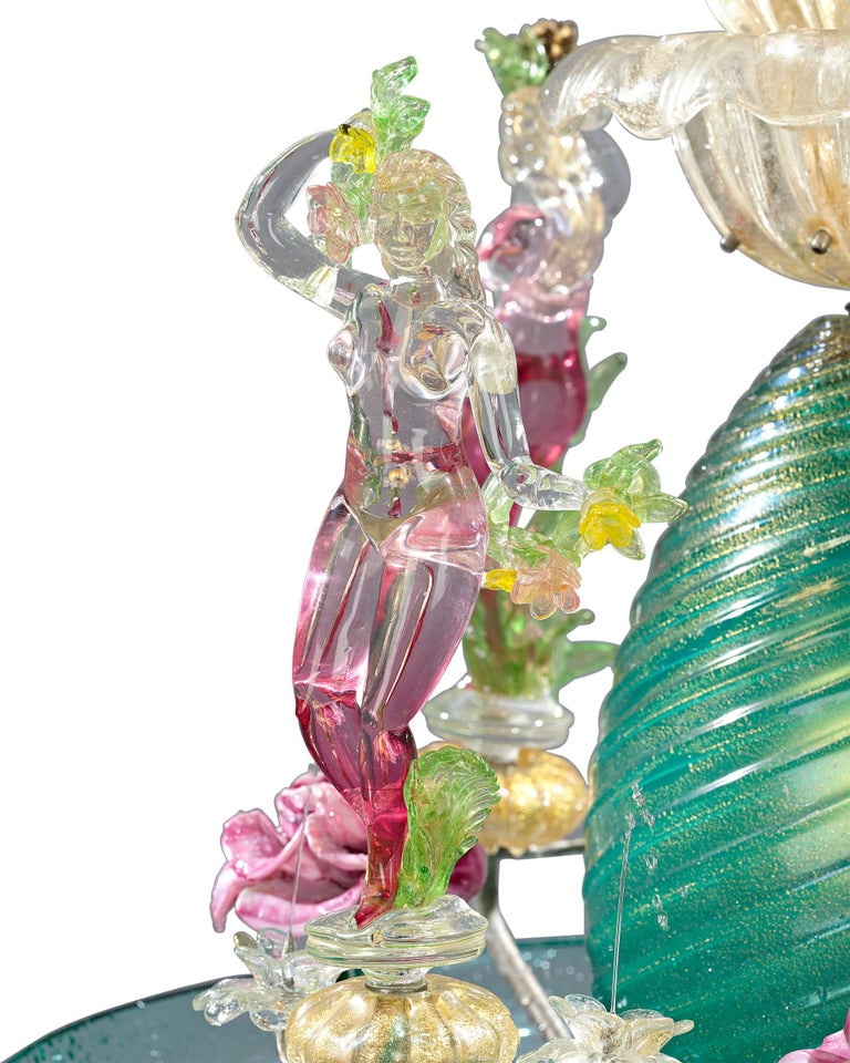 Italian Murano Venetian Glass Water Fountain For Sale
