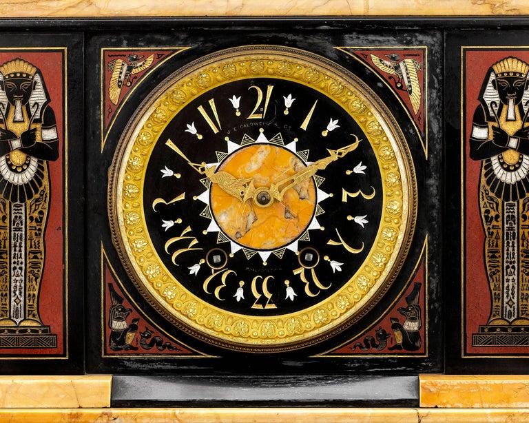 American Egyptian Revival Clock Garniture For Sale