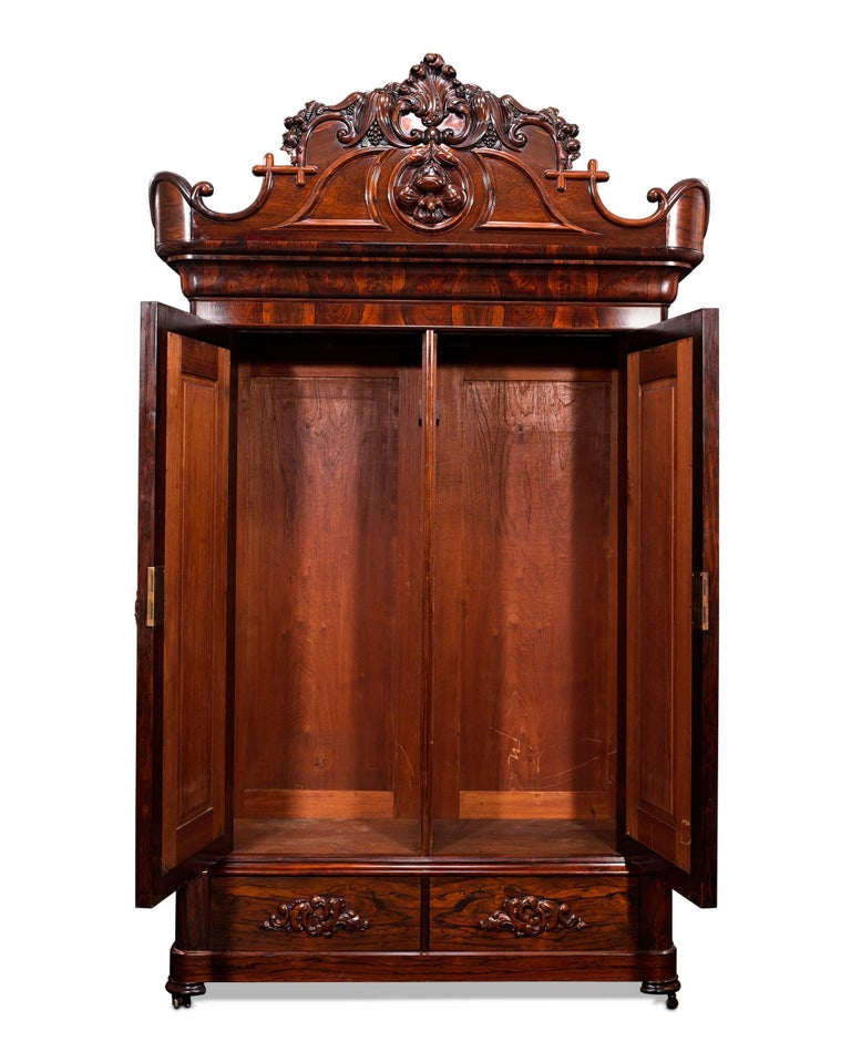 Rococo Revival John Henry Belter Rosewood Armoire For Sale