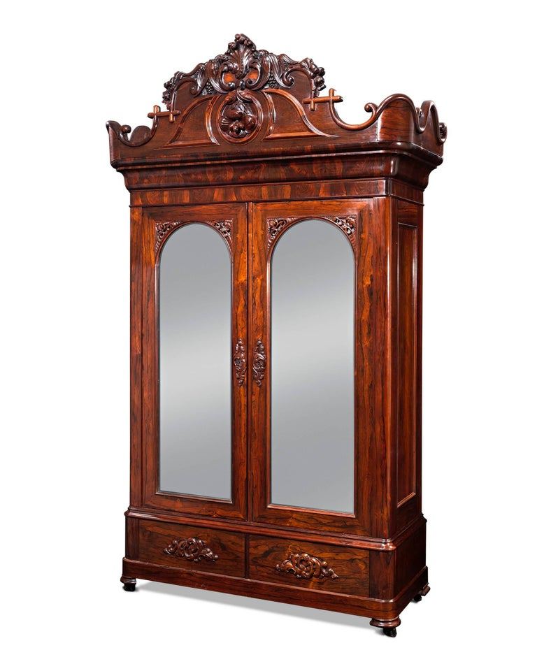 John Henry Belter Rosewood Armoire In Excellent Condition For Sale In New Orleans, LA