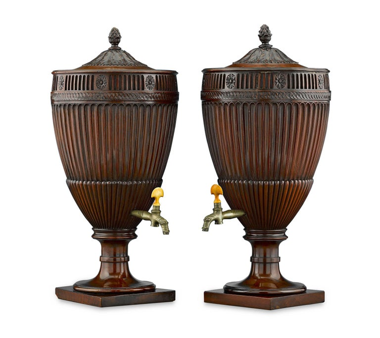 Carved Georgian Mahogany Urns For Sale