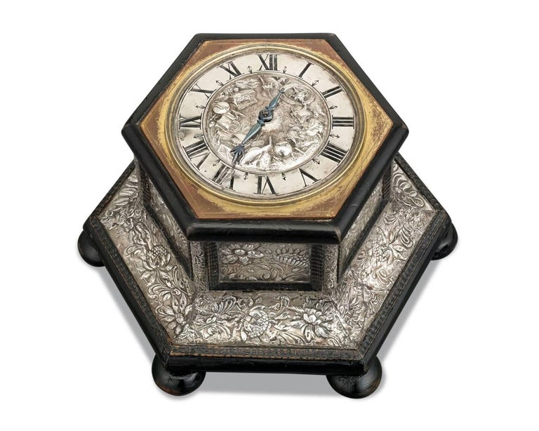 Exceptional beauty and innovation are on display in this rare German Renaissance table clock. Undeniably, some of the finest clocks of the 17th century were produced in the South German town of Augsburg. This clock, crafted by Augsburgian clockmaker