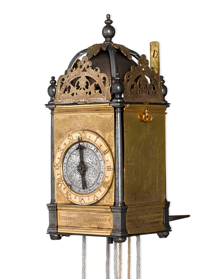 This immensely rare Renaissance turret wall clock was once part of the Time Museum's collection in Rockford, Illinois. This incredible weight-driven piece is encased in firegilt brass, featuring exceptional figural engravings of the Old Testament
