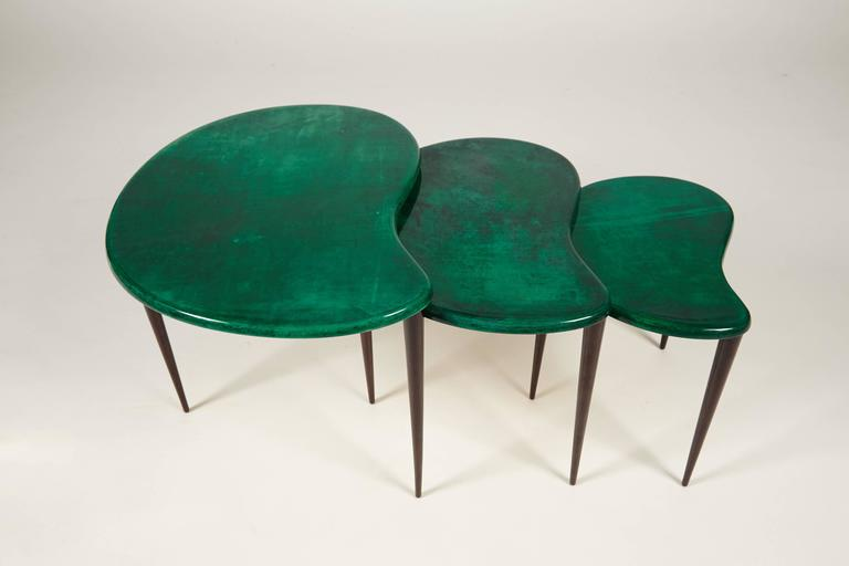 Three delicate goat skin nesting tables by aldo tura circa 1960s at you are viewing a stunning set of three nesting tables by the great designer aldo watchthetrailerfo
