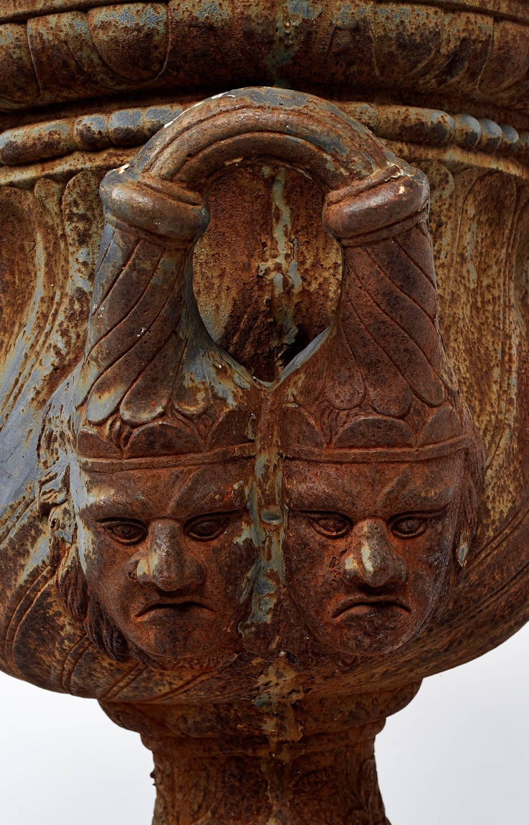 American 19th Century Pair of Iron Garden Urns For Sale