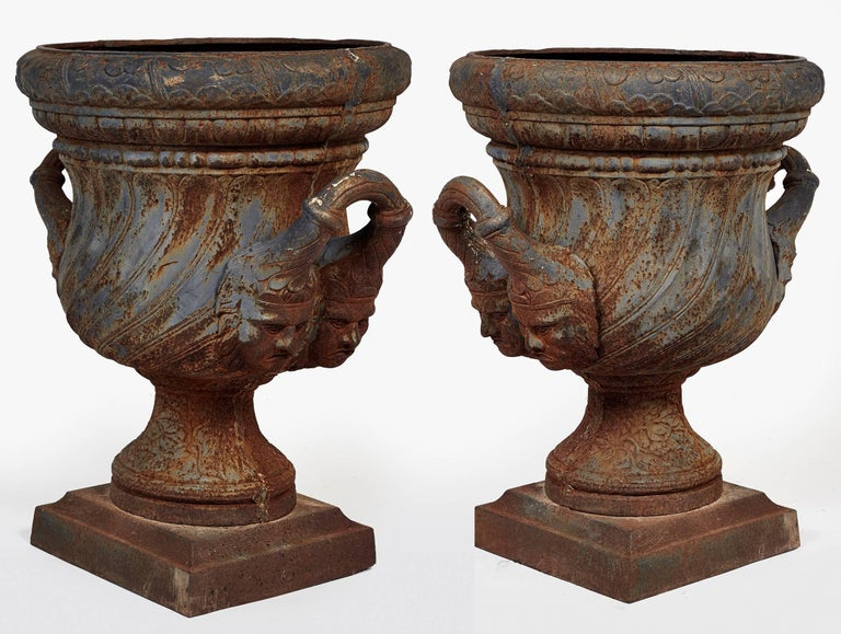 19th Century Pair of Iron Garden Urns For Sale 5