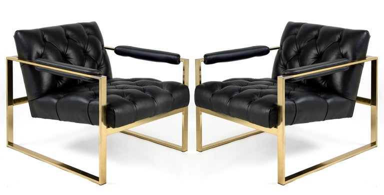 Pair of 1970s Flat Bar Milo Baughman Chairs For Sale 1