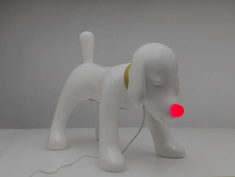 Yoshitomo Nara. Doggy radio, 2011. Hand-assembled polymer, fiberglass, Yamaha speaker system. Measures: 13.75 height x 18 weight x 9.5 diameter, inches. Limited edition of 3,000 (1,000 available in the US).  Featuring Bluetooth wireless, USB,