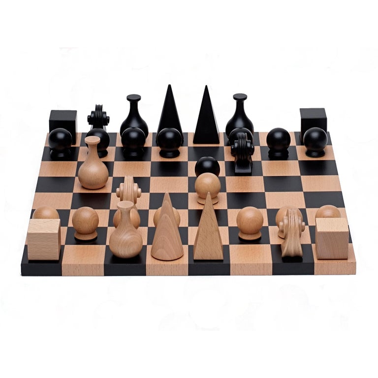 Chess Set (32 pieces) with board re-edition based on 1920 design carved solid beech wood tallest piece is 2