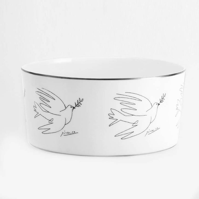 Serving bowl (available in Dove or Horse design) porcelain from Limoges with silver trim 4 H. x 8.5 inches diameter; 10 x 22 cm custom gift box  This selection of serving bowls was made in collaboration with the artist's estate and features