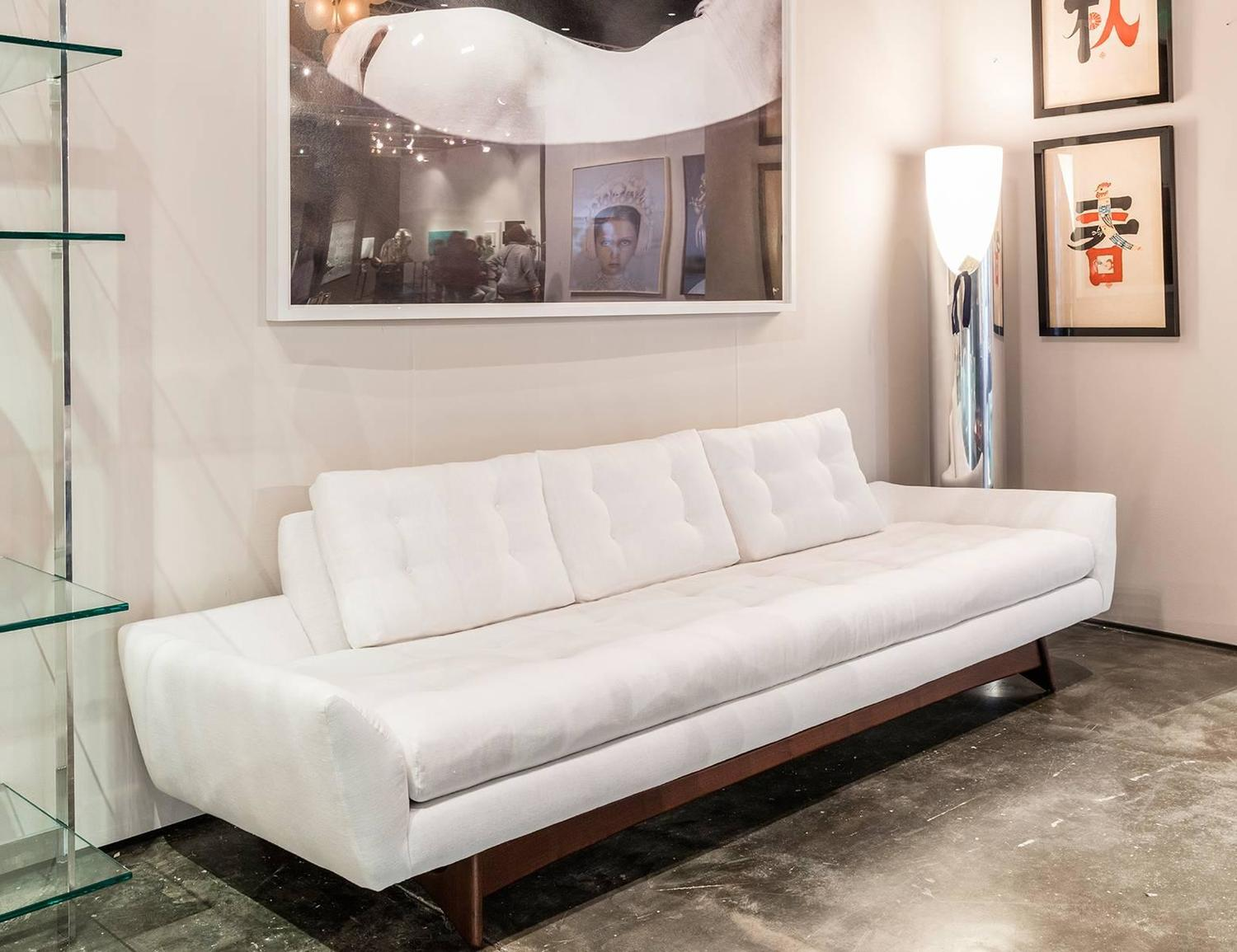 Adrian pearsall white linen sofa for sale at 1stdibs for White linen sectional sofa