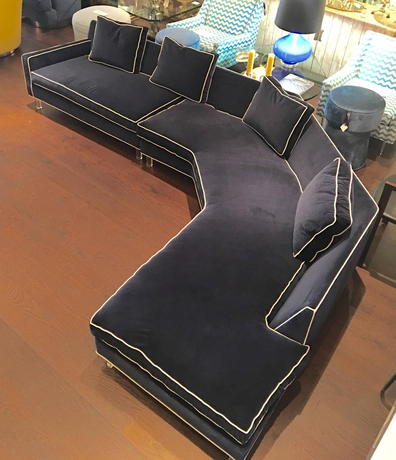 Two Piece Blue Sectional Sofa With Lucite Legs At 1stdibs