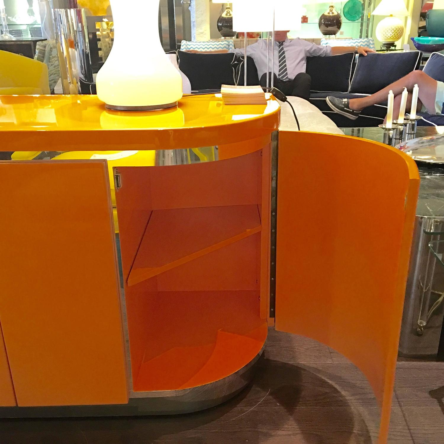 Orange laquer sideboard or credenza for sale at 1stdibs for Sideboard orange