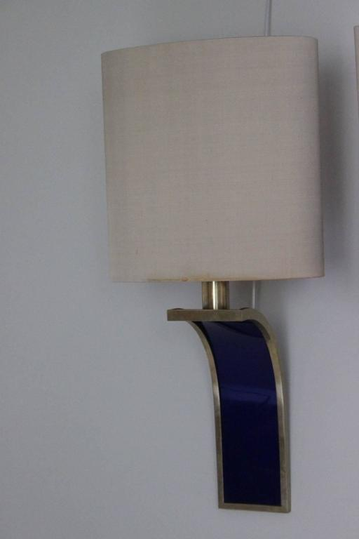 1970s Curved Wall Lights with Original Shades For Sale at 1stdibs