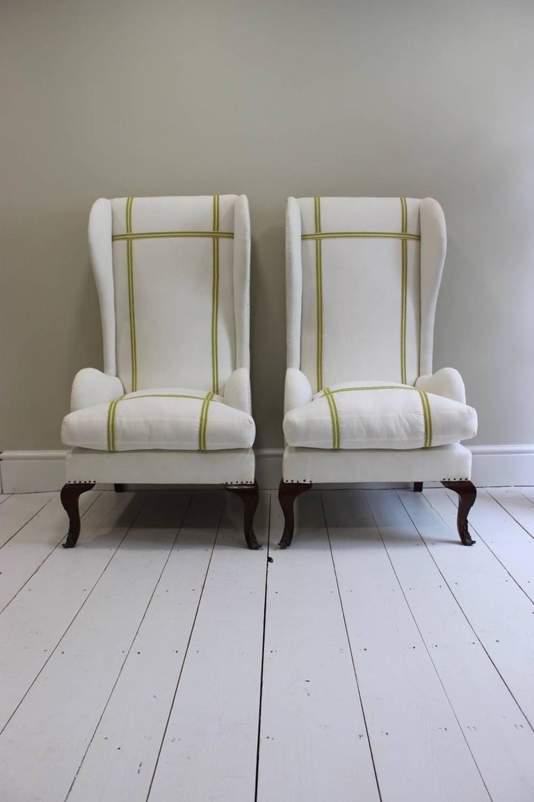 Pair of Early 20th Century Spanish Walnut Wing Armchairs