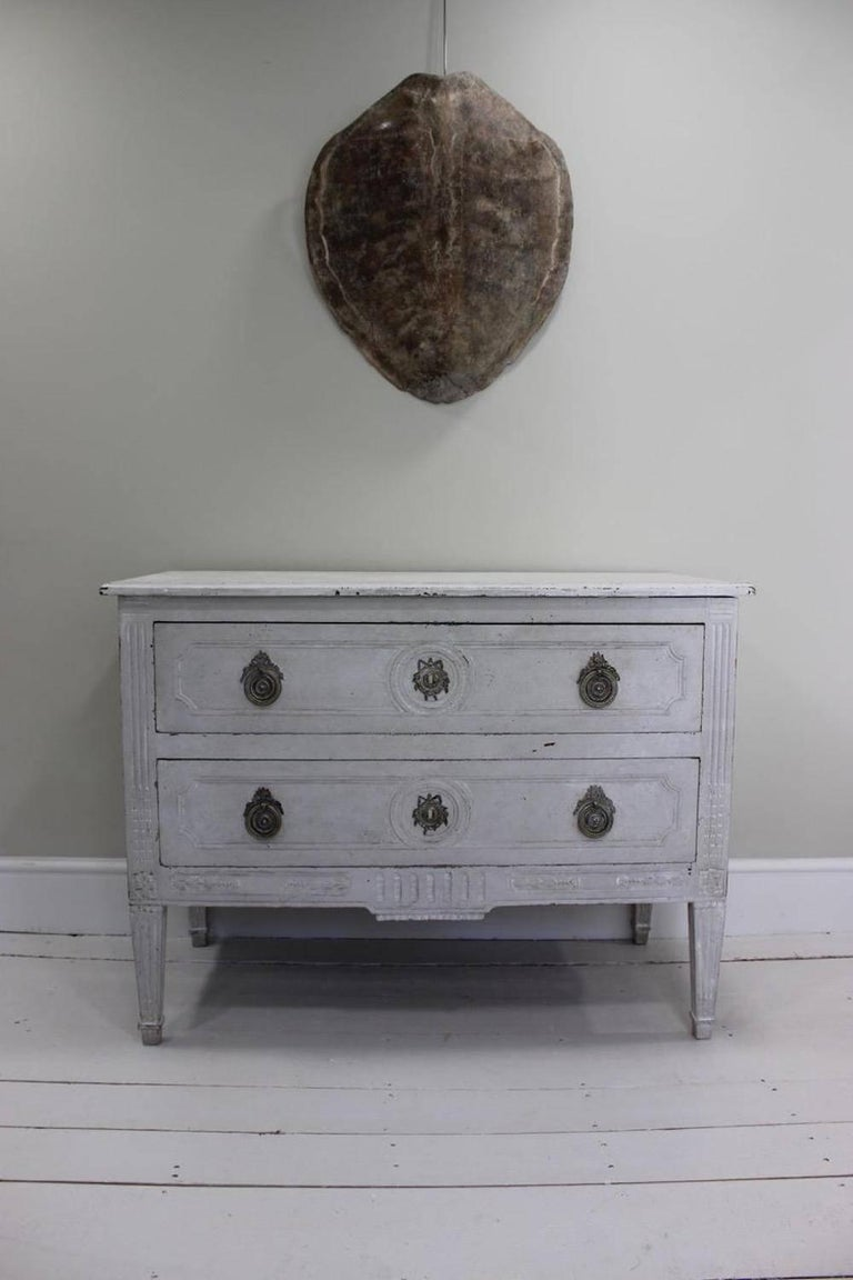 18th Century French Louis XVI White-Painted Commode For Sale