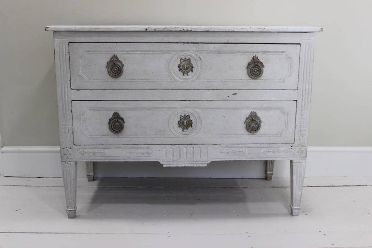Walnut French Louis XVI White-Painted Commode For Sale
