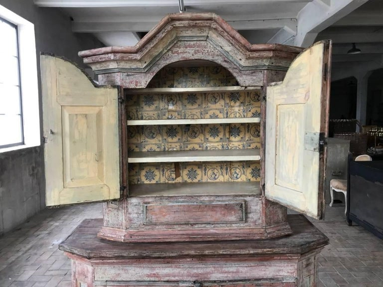 Pine 18th Century Swedish Painted Cupboard with Original Paint For Sale