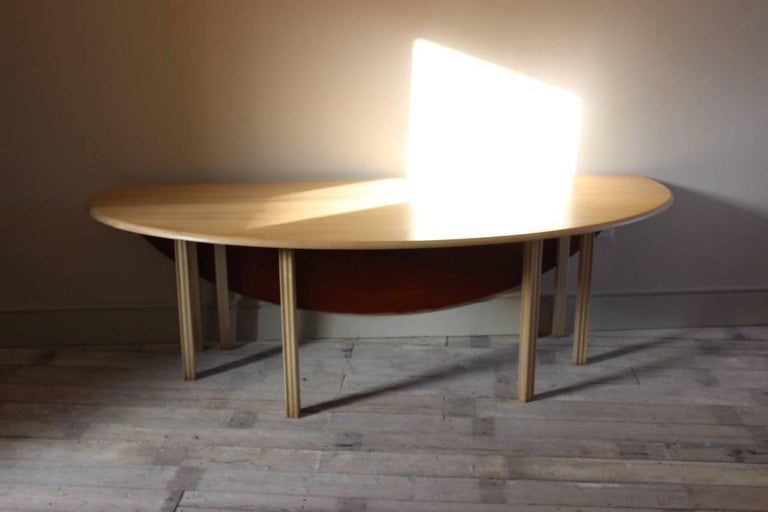 European 1950s Bleached Mahogany Dining Table For Sale