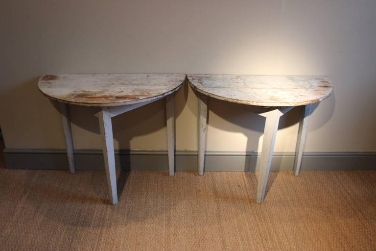 Pine Pair of 19th Century Swedish Demilune Console Tables For Sale