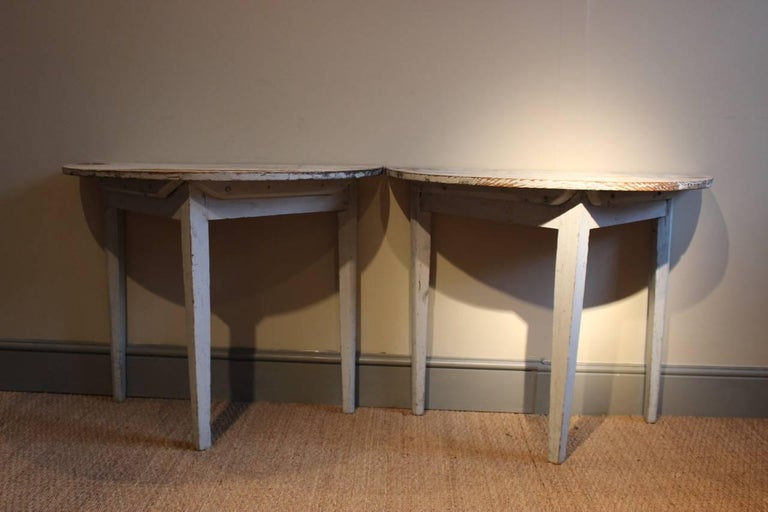 Pair of 19th Century Swedish Demilune Console Tables In Good Condition For Sale In Gloucestershire, GB