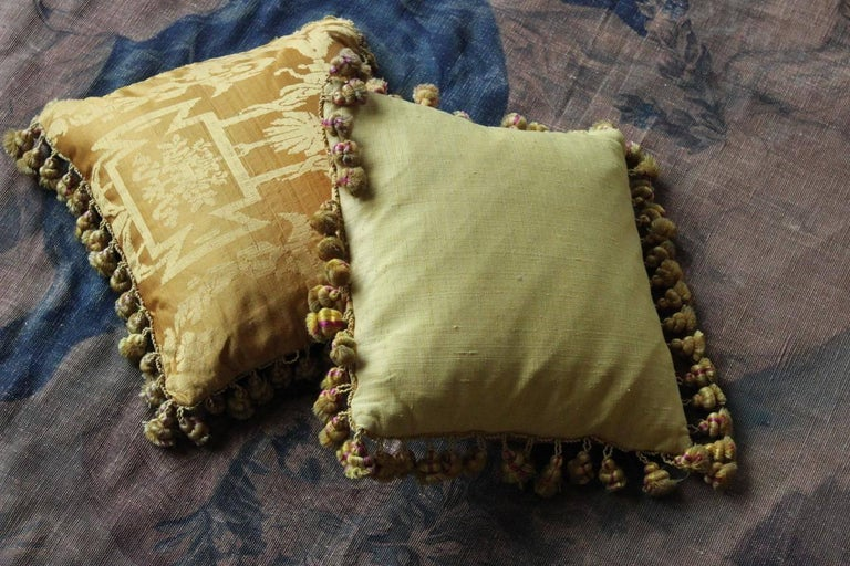 Fine 19th Century French Silk Damask Cushions For Sale 5