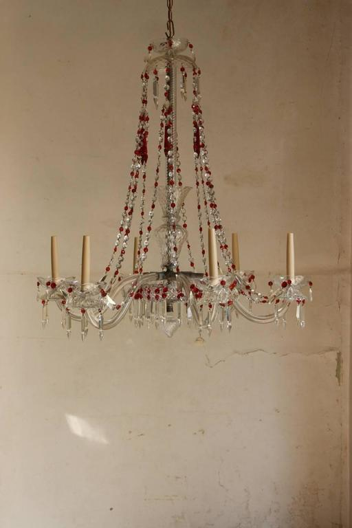 Superb Spanish 1920s 1930s Six Arm Glass Chandelier With