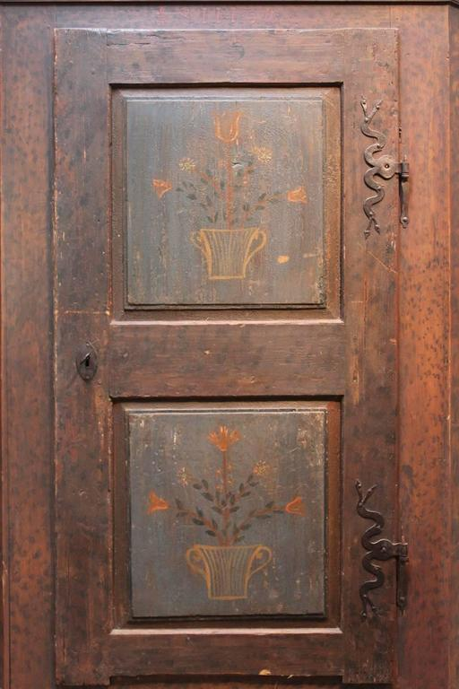 Softwood 19th Century Austrian Painted Cupboard For Sale