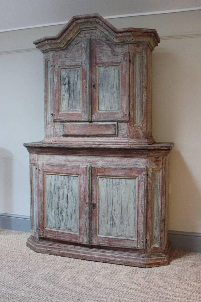 Baroque 18th Century Swedish Painted Cupboard with Original Paint For Sale