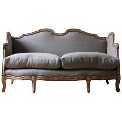 French Louis XV Style Linen Sofa, circa 1900