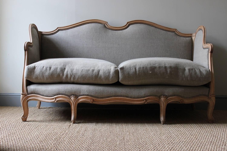 19th Century French Louis XV Style Linen Sofa, Circa 1900 For Sale