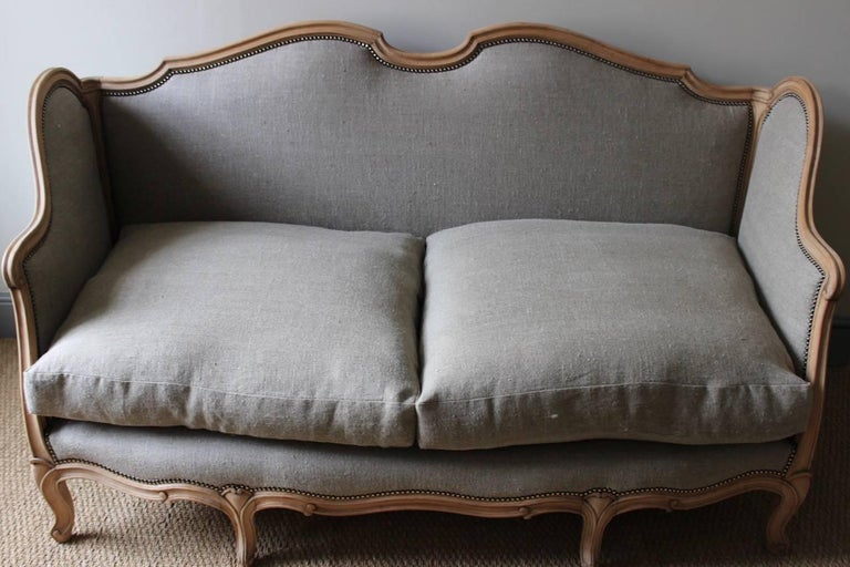 French Louis XV Style Linen Sofa, circa 1900 For Sale 1
