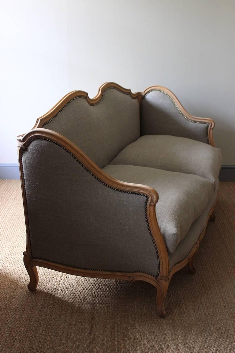 French Louis XV Style Linen Sofa, circa 1900 For Sale 3