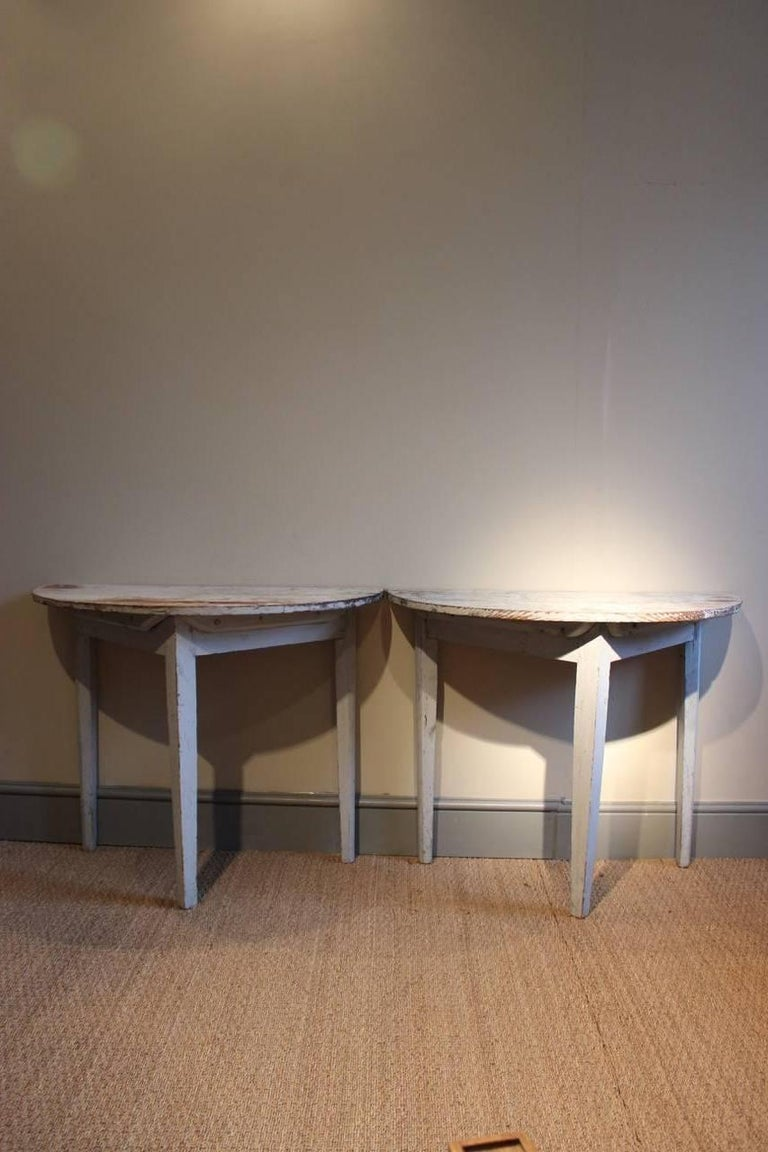 Gustavian Pair of 19th Century Swedish Demilune Console Tables For Sale