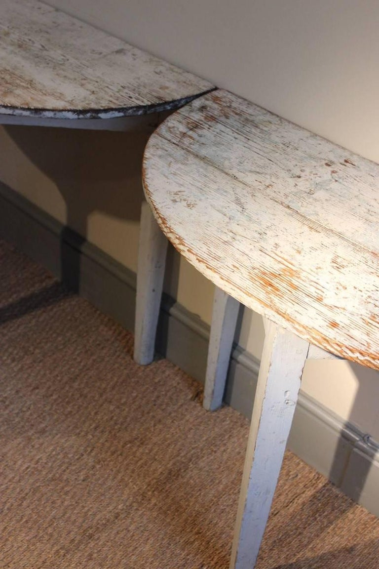 Pair of 19th Century Swedish Demilune Console Tables For Sale 1