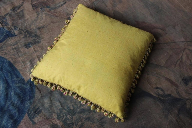 A fine and rare, 19th century French golden-yellow silk damask and fringe cushion, backed with 18th century bourette.