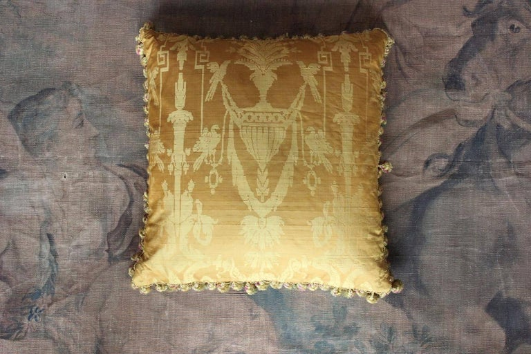 Fine 19th Century French Silk Damask Cushion For Sale 1