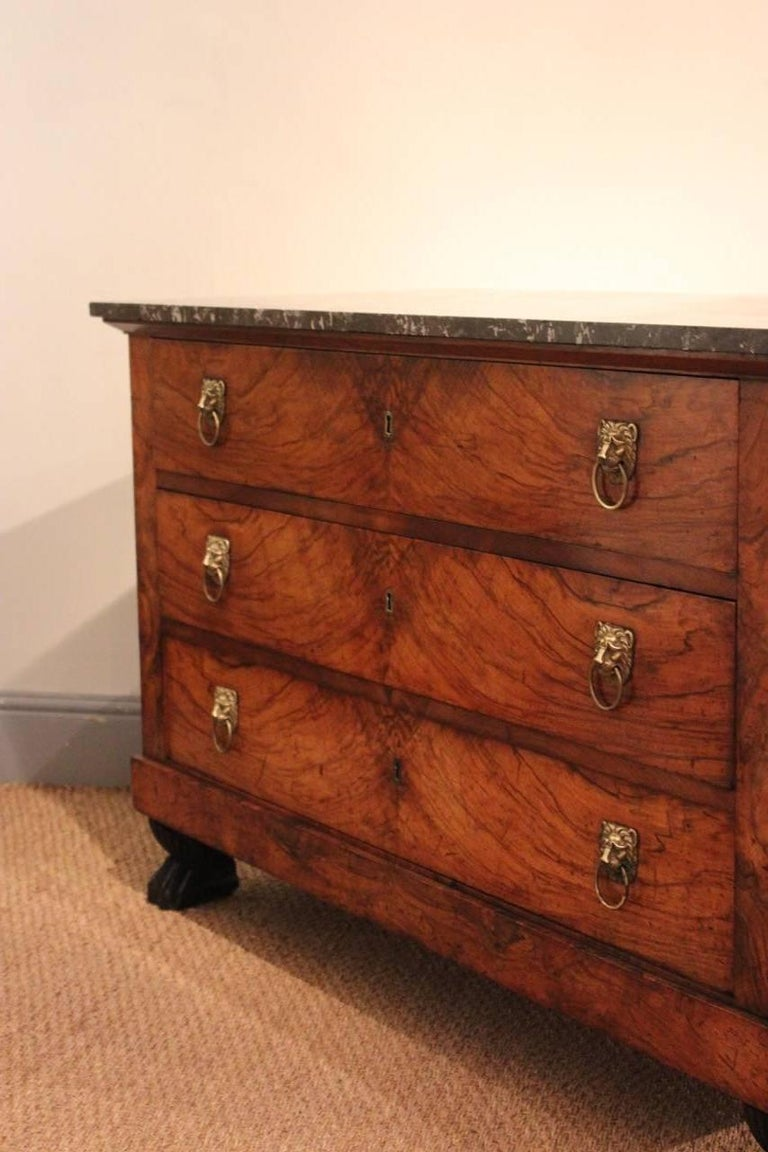 Marble Early 19th Century French Empire Walnut Commode For Sale