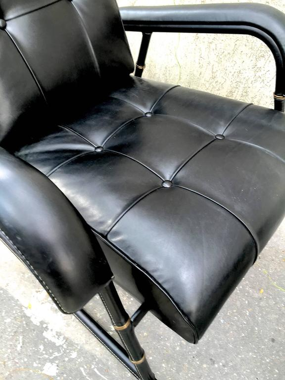 Adnet Rare Rocking Chair and Footstool in Black Hand-Stitched Leather ...