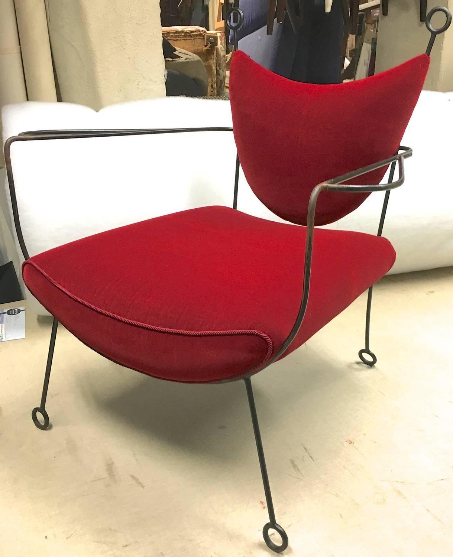Jean Royère Documented Pair of Black Wrought Iron Lounge Chairs Model Yo Yo F