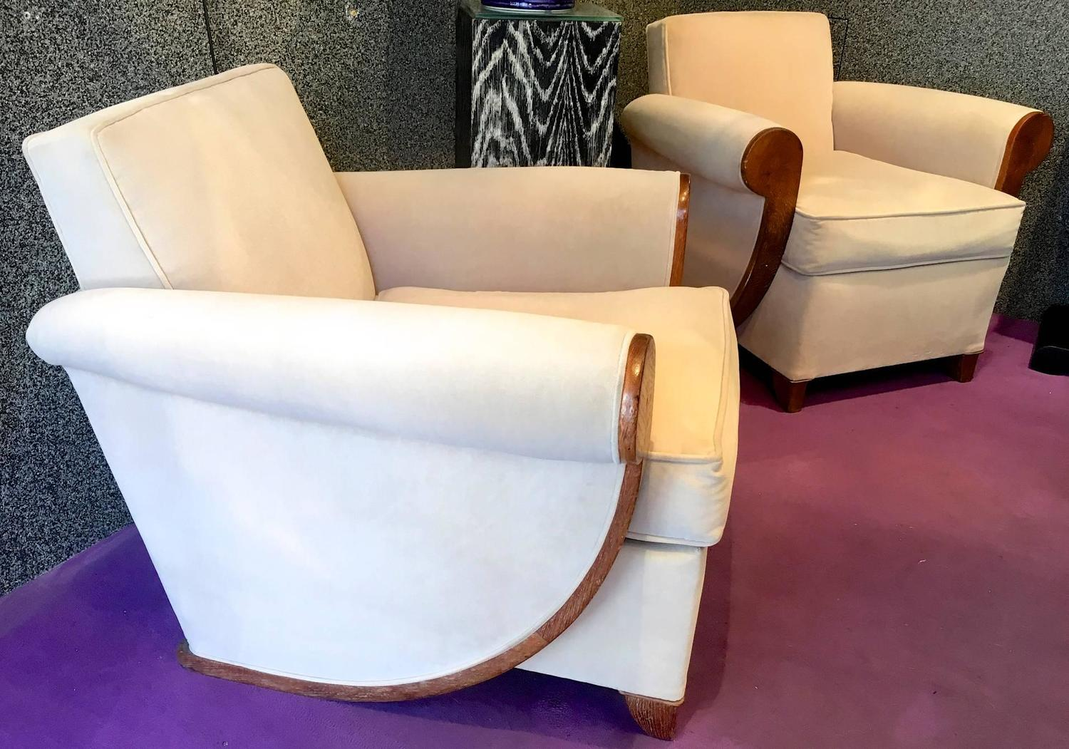 Louis Sognot Superb Comfortable Pair Of Club Chairs In