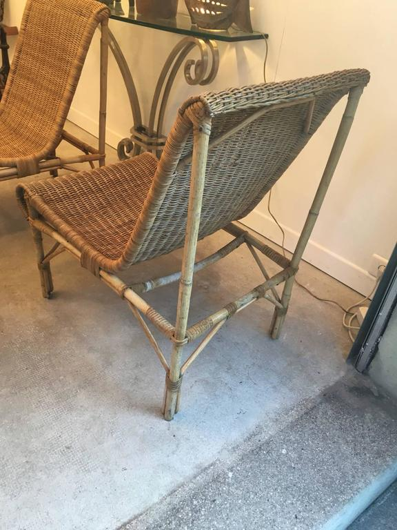 Louis sognot exceptional set of four comfy rattan lounge for Comfy chairs for sale