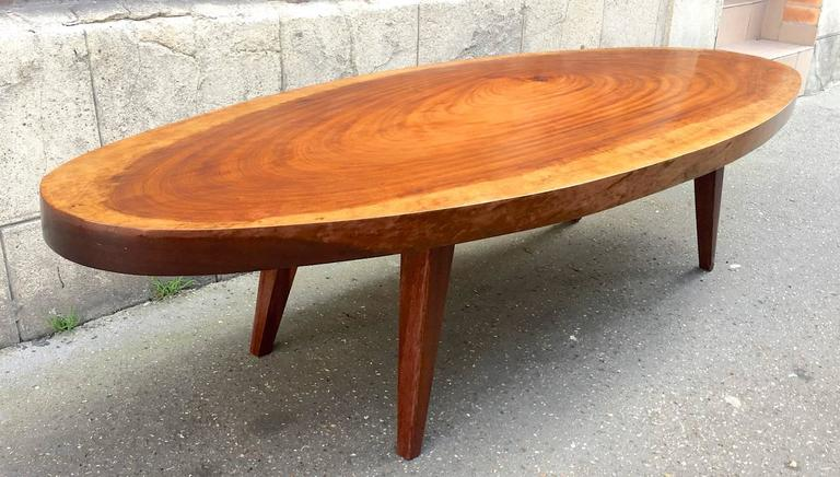 Organic Very Long Solid Wood Oval Coffee Table For Sale at 1stdibs