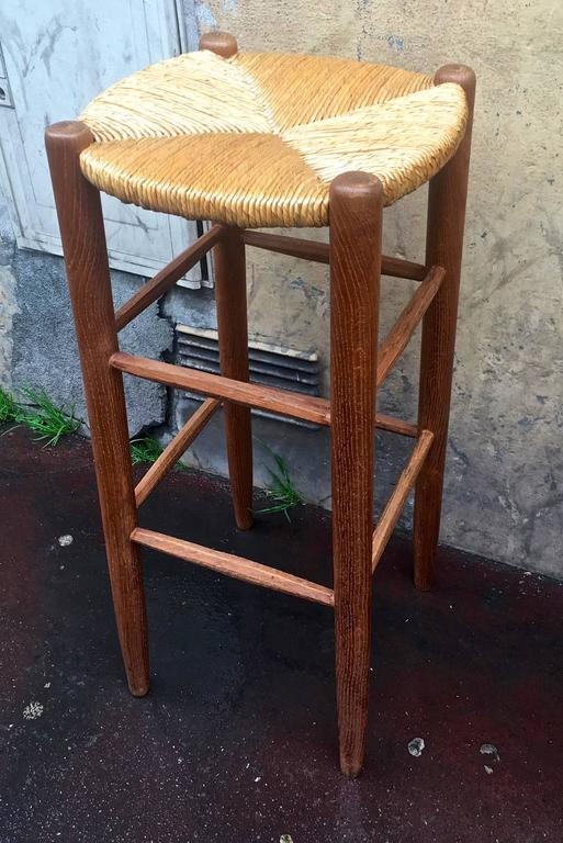 Rare Set Of Six Rush Bar Stools In The Style Of Charlotte Perriand For Sale At 1stdibs