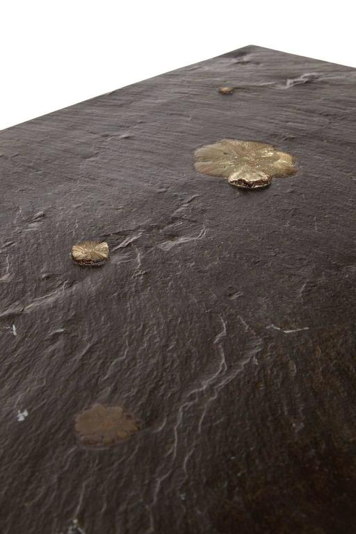 European Low Slate Table with Marcassite by Pia Manu For Sale