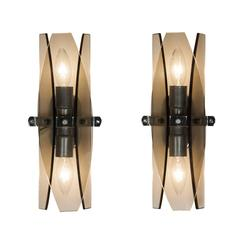 Pair of Smoky Grey Glass Sconces by Veca