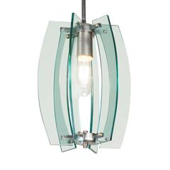 Italian 1960s Clear Green Glass Pendant Light